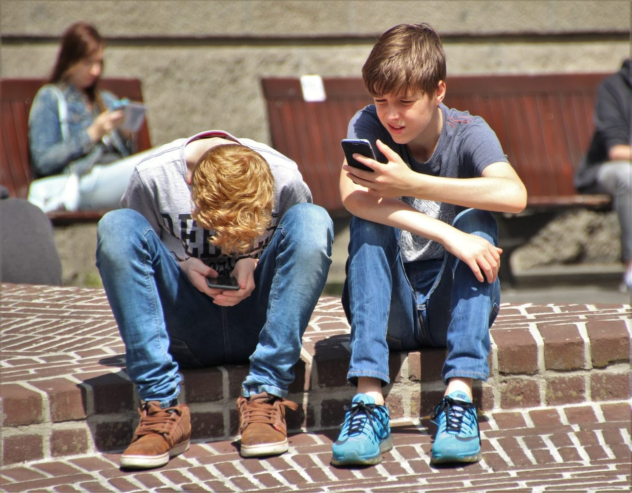 Children on mobile devices
